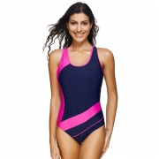 Patchwork Sporty One Piece Swimsuit