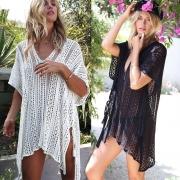 Crochet Knitted Tassel Tie Beachwear Swimsuit Cover Up