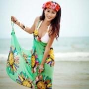 Women Retro Floral Chiffon Bikini Cover Up